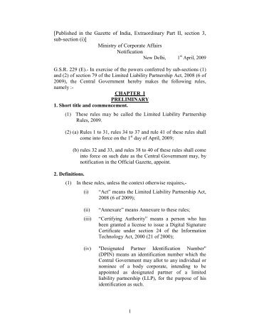 LLP Rules - Ministry of Corporate Affairs