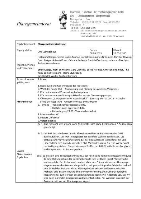 PGR-Protokoll vom 08. 05. 2013 - Start - Katholisch in Steinfurt