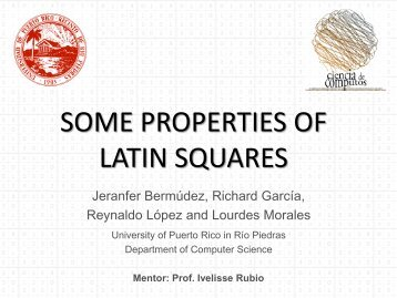 some properties of latin squares - Department of Computer Science