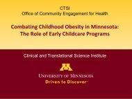 University of Minnesota Powell Center for Women's Health. 8th ...