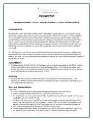 JOB DESCRIPTION Position Profile Accountability Authority Roles ...