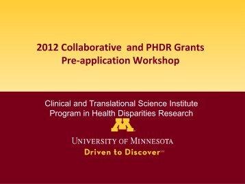 CTSI Collaborative Grants - Program in Health Disparities Research