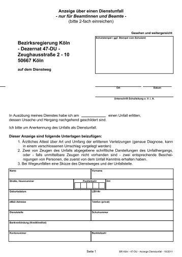 Anzeige über einen Dienstunfall - Bezirksregierung Köln