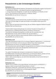 Pressestimmen zu den Orchestertagen Bielefeld