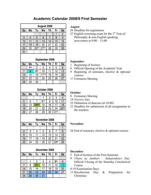 Academic Calendar 2008/9 First Semester