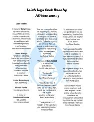Fall/Winter 2012-13 Honour Page - La Leche League Canada