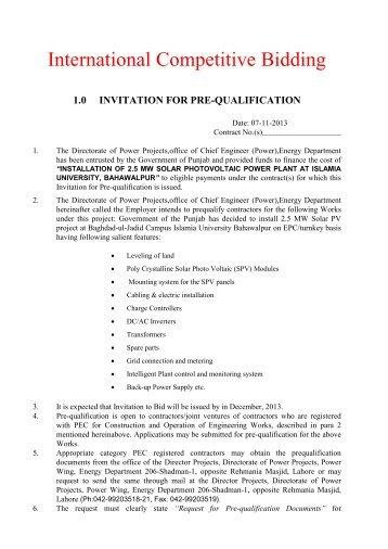 1.0 invitation for pre-qualification - Punjab