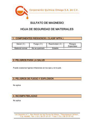 SULFATO DE MAGNESIO HOJA DE SEGURIDAD DE MATERIALES