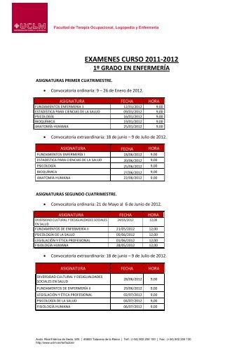 EXAMENES CURSO 2011-2012