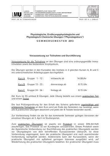 Physiologische, Ernährungsphysiologische und Physiologisch ...