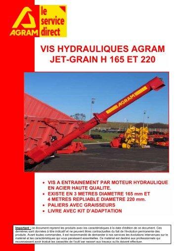 VIS HYDRAULIQUES AGRAM JET-GRAIN H 165 ET 220