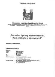 stavební úpravy komunikace Komenského ul.