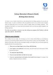 Birthing suite services - Calvary Health Care Tasmania Lenah ...