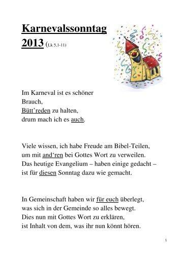 Karnevalspredigt 2013 - Start - Katholisch in Steinfurt