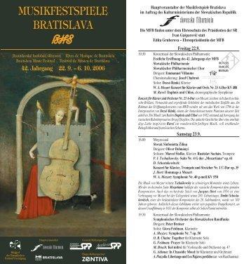 MUSIKFESTSPIELE BRATISLAVA - Bratislavské hudobné slávnosti
