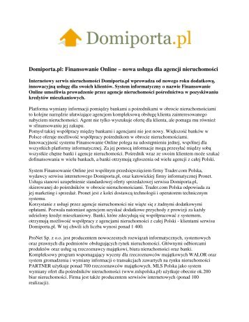 Domiporta.pl: Finansowanie Online – nowa usługa dla ... - Trader.pl