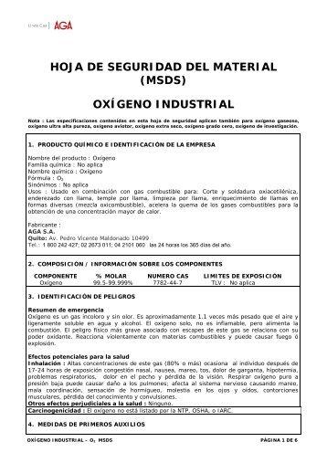 hoja de seguridad del material (msds) oxígeno industrial