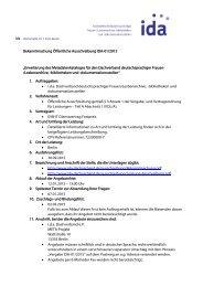 ida Bekanntmachung Öffentliche Ausschreibung IDA-01/2013 ...