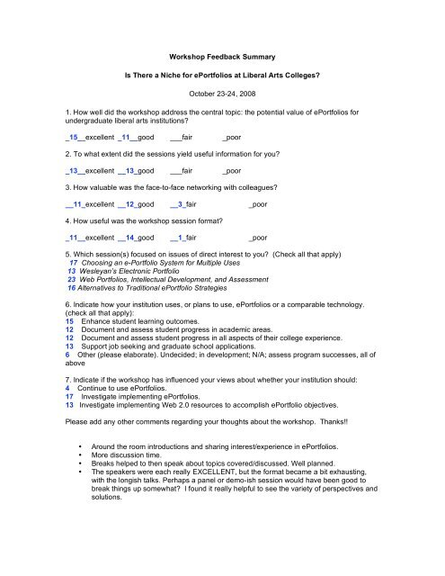 Workshop Feedback Summary Is There a Niche for ... - Reed College