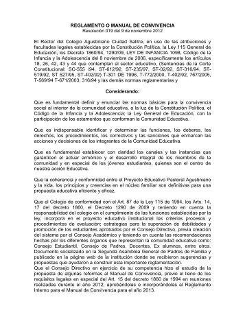 REGLAMENTO O MANUAL DE CONVIVENCIA El Rector del ...