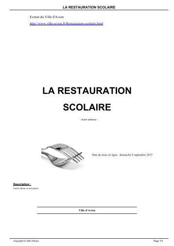 LA RESTAURATION SCOLAIRE - Avion