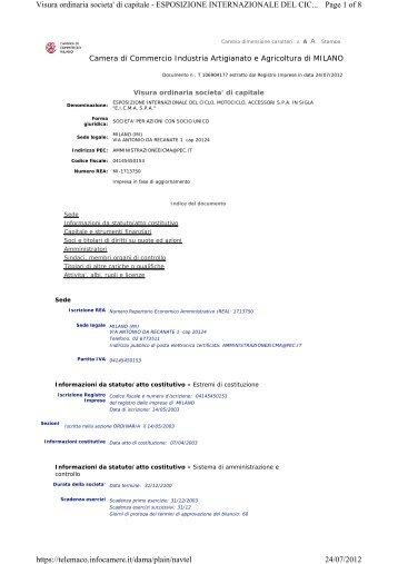 Page 1 of 8 Visura ordinaria societa' di capitale - ESPOSIZIONE ...