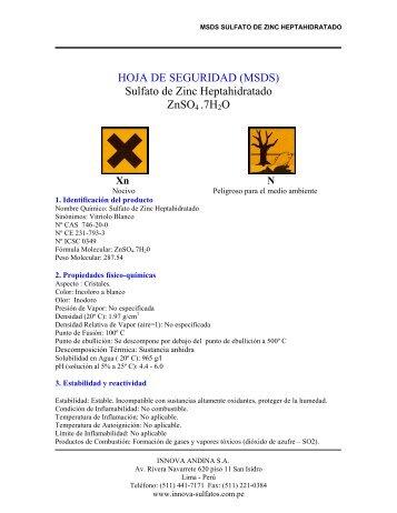 HOJA DE SEGURIDAD (MSDS) Sulfato de Zinc Heptahidratado ...