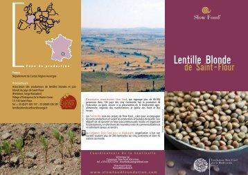 La Lentille Blonde de Saint-Flour - Slow Food France