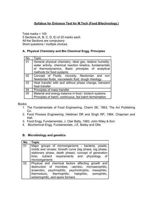 Syllabus for Entrance Test for M Tech (Food     - ICT Mumbai