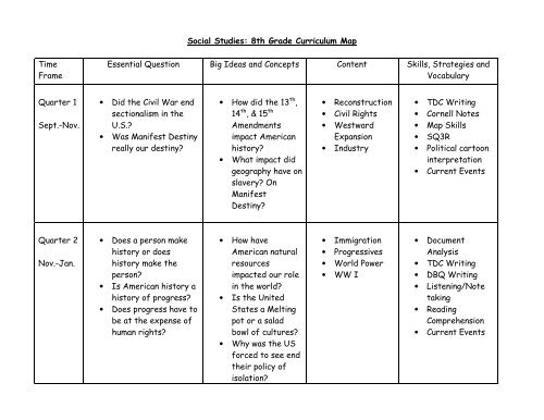 Social Studies 8th Grade Curriculum Map Time Frame Essential - Us-history-curriculum-map