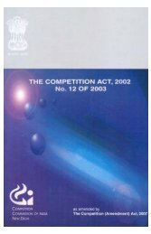 Competition Act, 2002 - Competition Commission of India
