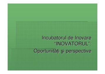 """Incubatorul de Inovare """"INOVATORUL"""": Oportunită i şi perspective"""