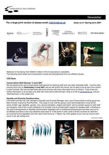 Newsletter - Conservatoire for Dance and Drama