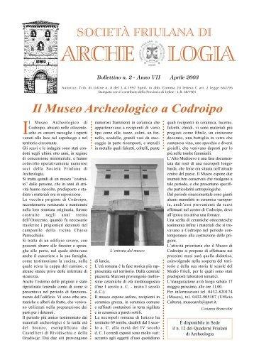 ANNO VII n. 2 Aprile 2003 - Società Friulana di Archeologia