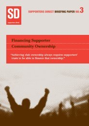 Financing Supporter Community Ownership - Supporters Direct