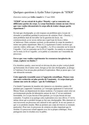 Un entretien réalisé par Gilles Amalvi 15.05.2004 - aydin teker