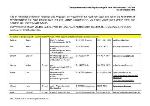 Verzeichnis der Therapeutinnen und Therapeuten - GPE ...