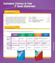 Customize Literacy in Your Texas Classroom - Reading Street Texas