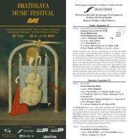BRATISLAVA MUSIC FESTIVAL - Bratislavské hudobné slávnosti
