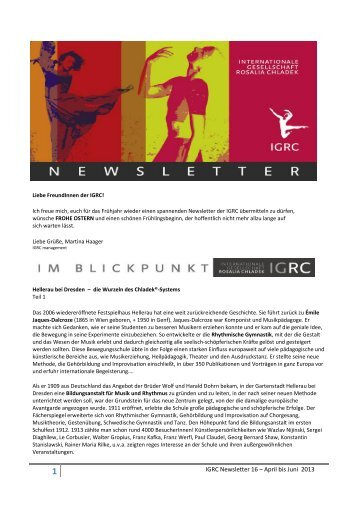 IGRC Newsletter 16 – April bis Juni 2013 - Internationale ...