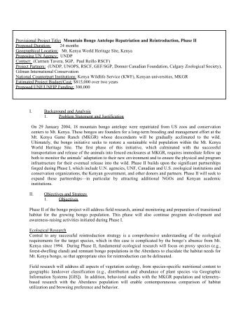 I. Background and Analysis 1. Problem Statement and Justification ...