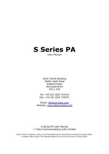 S Series PA User Manual - DDA