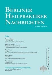veranstaltungsinformationen 2011/2012 aus - Berliner Heilpraktiker ...