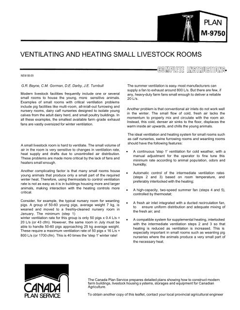 ventilating and heating small livestock rooms - Canada Plan Service