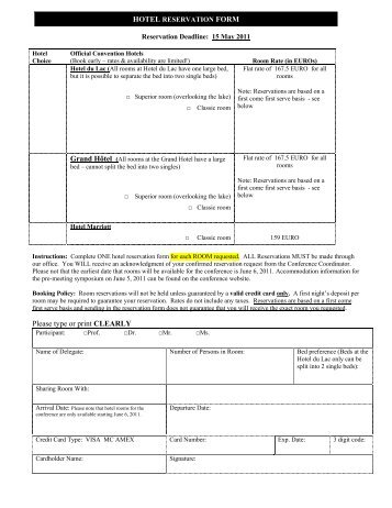 Hotel Reservation Forms