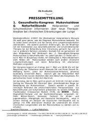 PRESSEMITTEILUNG 1. Gesundheits-Kongress Mukoviszidose ...