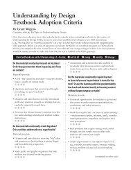 Understanding by Design Textbook Adoption Criteria