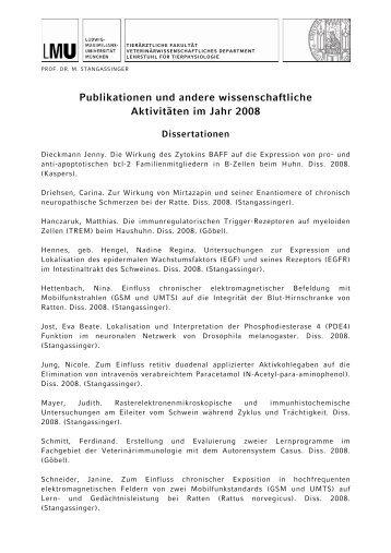 2008 - Lehrstuhl für Tierphysiologie - Ludwig-Maximilians ...