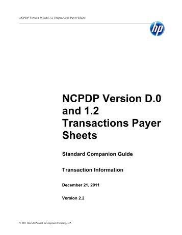 Express Scripts, Inc. NCPDP Version D.0 Payer Sheet
