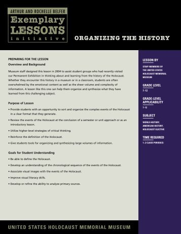 Organizing the History - United States Holocaust Memorial Museum